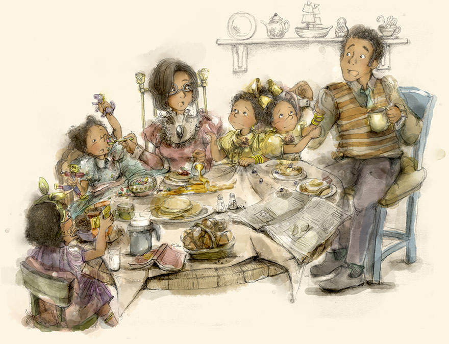 Sela Blue and her family at the breakfast table