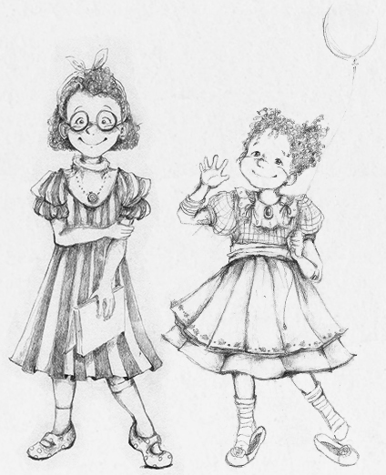 Illustration of Sela Blue's sisters Susie and Sophie Blue